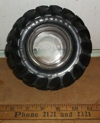 """vintage FIRESTONE Tire Shaped Ashtray """"Tractor"""" Style Tire"""