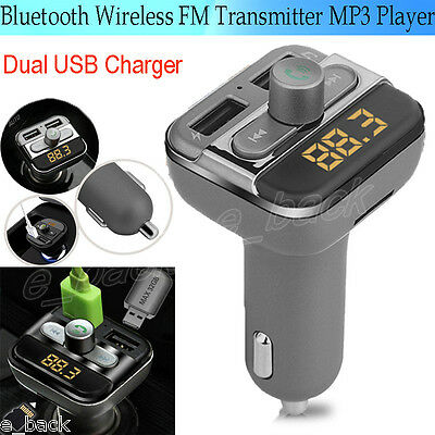 Bluetooth Car Kit Wireless FM Transmitter Dual USB Charger Audio MP3 Player CA