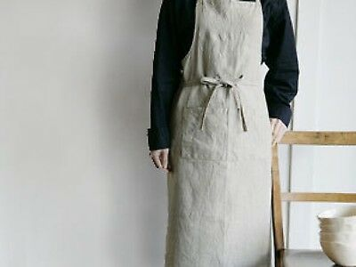 Beautiful and Elegant Natural Linen Apron with pull around straps.