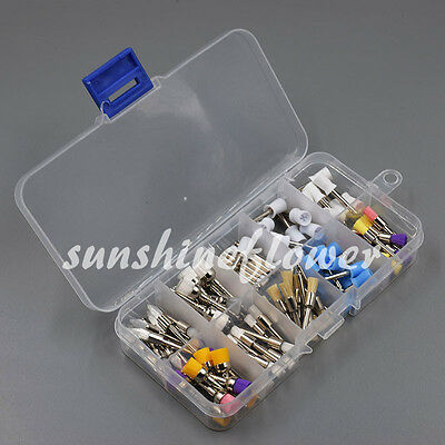 100 Pcs Mixed Color Nylon Latch Flat Polishing Dental Prophy Brush Cup Bowl