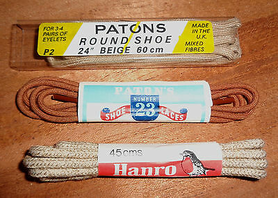 3 Pairs Vintage Shoe Laces - Patons - Hanro - Brown Beige - Oxfords Brogues