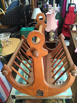 retro timber magazine rack anchor shaped ends