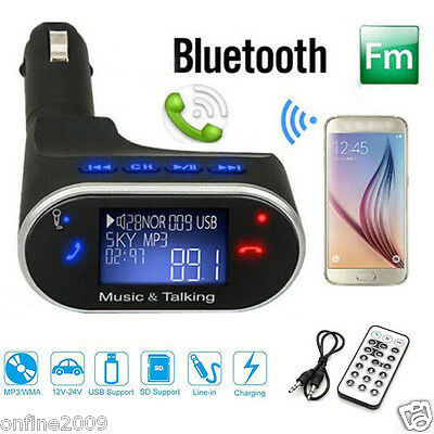 Wireless Bluetooth Car Kit LCD MP3 Player FM Transmitter Modulator Remote USB SD