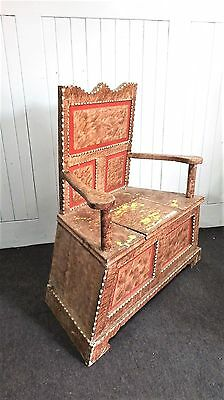 Antique vintage rustic carved storage bench / settle / throne chair
