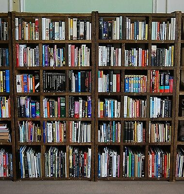 BOOKCASE x2 library books antique industrial rustic reclaimed wood vintage