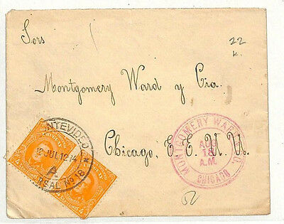 MM50 1914 Uruguay Montevideo Chicago Illinois USA Cover Samwells-Covers