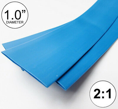 "(2 FEET) 1.0"" Blue Heat Shrink Tubing 2:1 Ratio Wrap inch/foot/ft/to U.S.A 25mm"