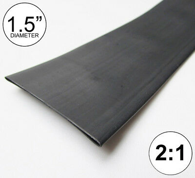 "(2 FEET) 1.5"" Black Heat Shrink Tubing 2:1 Ratio 1-1/2"" inch/foot/ft/to 2FT 40mm"
