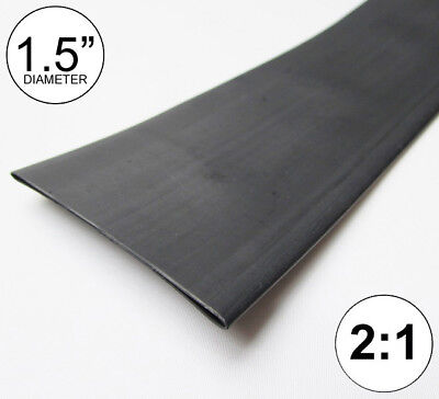 "(8 INCHES) 1.5"" Black Heat Shrink Tubing 2:1 Ratio feet/foot/ft/to 1-1/2"" 40mm"