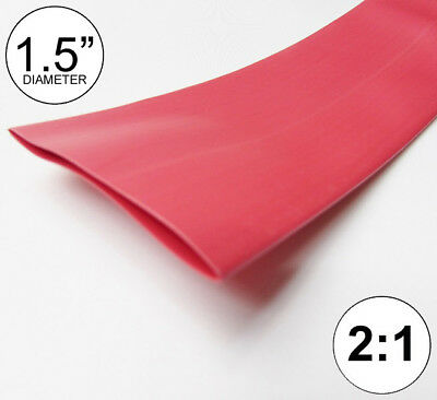 """(4 FEET) 1.5"""" Red Heat Shrink Tubing 2:1 Ratio 1-1/2"""" inch/foot/to 48"""" 4FT 40mm"""