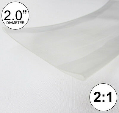 """(2 FEET) 2.0"""" Clear Heat Shrink Tubing 2:1 Ratio 2"""" inch/foot/ft/to 2FT 24"""" 50mm"""