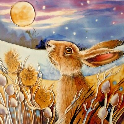 Moon Gazing Hare Ceramic Picture Tile Hand Painted Wall Art Plaque Judith Yates