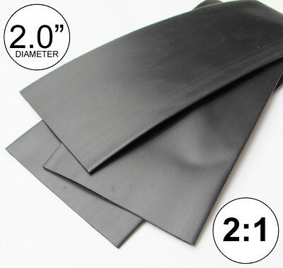 """(4 FEET) 2.0"""" Black Heat Shrink Tubing 2:1 Ratio 2"""" inch/foot/ft/to 4FT 48"""" 50mm"""