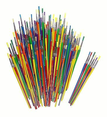Children's THIN art paint brushes  6 assorted colours and shapes.