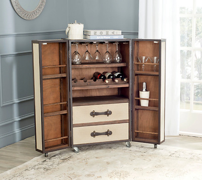 Mini Dry Bar and Wine Liquor Storage Cabinet Rolling Trunk for Home Drawers Rack