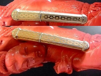 Antique Gold Silver French Needle Case VERMEIL sewing etui 1860-70