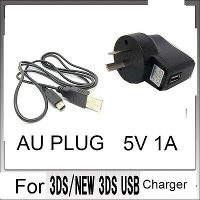 AU POWER AC CHARGER CABLE For Nintendo DSi NDSi DSiXL 3DS 3DSXL/LL NEW3DS /SX