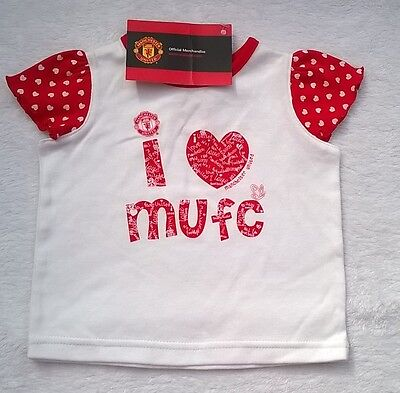 Manchester United Baby Girls Short Sleeve T-Shirt 3-6 Months