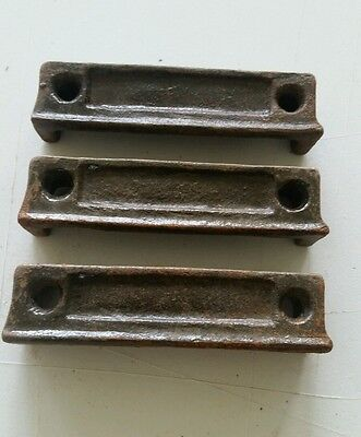 3 matching  3 1/4  inch Cast Iron Door Rim Lock Keeper  Catch Strike Plate