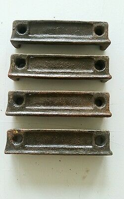 4 matching  3 1/4  inch Cast Iron Door Rim Lock Keeper  Catch Strike Plate