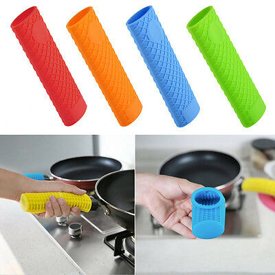 4 Colors Silicone Pot Pan Handle Saucepan Holder Sleeve Slip Cover Grip Kitchen