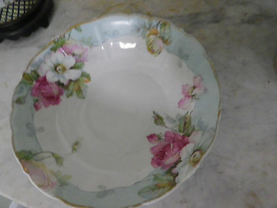 """Beautiful P S GERMANY hand painted 10"""" porcelain serving bowl w/ roses Gold trim"""