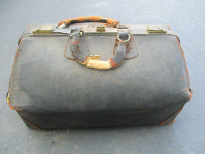 Vintage Brown Leather Doctors Medical Medicine Bag Antique