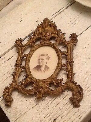 Vintage Antique Art Deco Gold Brass Picture Photo Frame With Glass