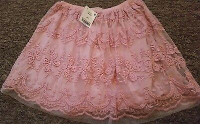 next girls new pink net and lace skirt age 6