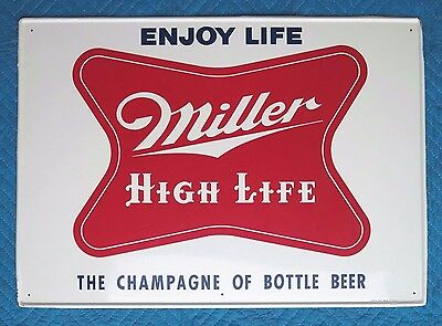 "Vtg. 1950s MILLER HIGH LIFE BEER ORIGINAL METAL SIGN 20x28"" EXC.+ CONDITION"