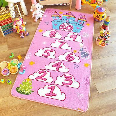 Kids Childrens Princess Castle Pink Hopscotch Play Mat Rug 0.8m X 1.5m