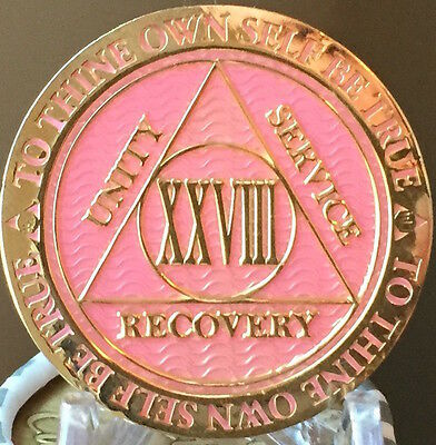 28 Year AA Medallion Pink Gold Plated Alcoholics Anonymous Sobriety Chip Coin