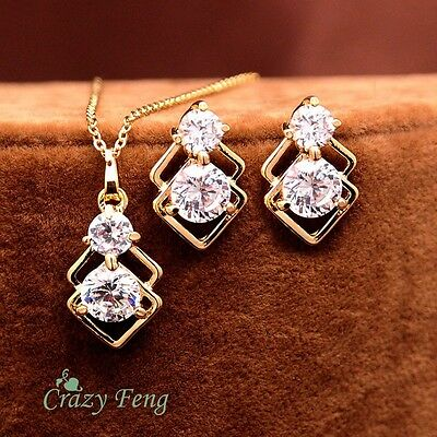 Stunning18k Yellow Gold Plated CZ Necklace Pendant & Earrings Jewelry Set!