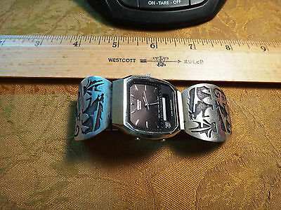 Vintage Signed Sterling Silver Band & Seiko Watch - Free S&H USA