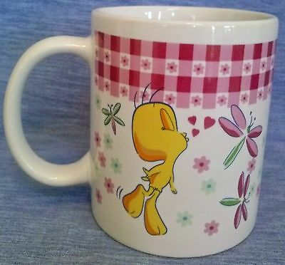 Tweety Bird Mug Pink Kisses Looney Tunes Warner Bros Gibson Stoneware Coffee Cup