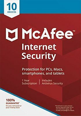McAfee Internet Security 2019 1 Year Licence for 10 Devices- Latest Edition