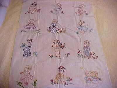16 Vintage Embroidered Quilt Blocks w/ Children