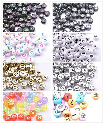 100Pcs Acrylic Mix LETTER Mix Colour Oblate ALPHABET Charms Loose BEADS 7MM