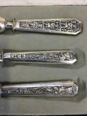 Wonderful Antiques Set Of Chinese Export Silvers Knife, Folk And Details!