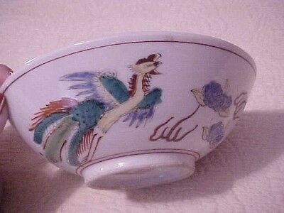 Antique Bowl Decorated With An Oriental Design, Dragons, Colorful Birds