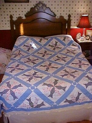 Vintage 1900s  PIECED QUILT, AS IS FOR CRAFTS, LOTSA BLUE