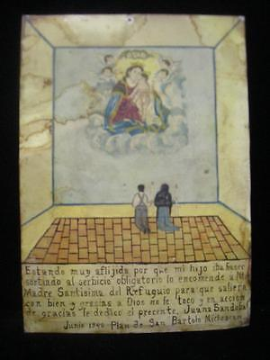 Lg 1946 Tin Mexican Religious Ex Voto Retablo Mexico Catholic Christian Folk Art