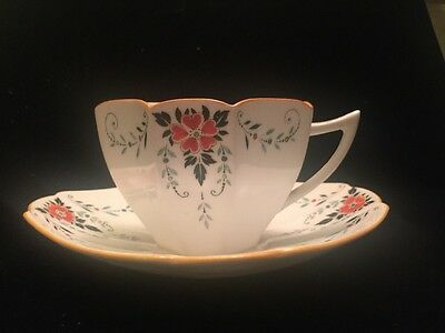 Antique SHELLEY Teacup and Matching Saucer Floral ART DECO 1920s England