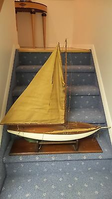 Antique Pond Boat Ship Model Wood Sailboat Rare (Idler - Newport)