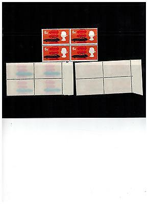 UNCOATED ? 1966 technology block of 4 WITH COLOURS SEE THROUGH GUM ERROR STAMP
