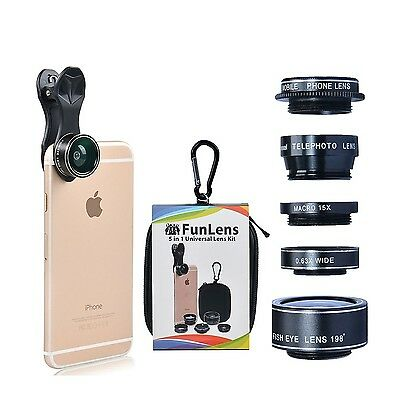 5 in 1 Universal Clip On Cell Phone Camera Lens Kit for iPhone 7/7 Plus /6s/6...