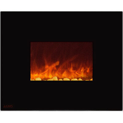 Ignis Royal 36 inch Wall Mount Electric Fireplace with Pebbles