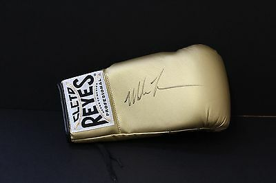 Mike Tyson Hand Signed Gold Boxing Glove