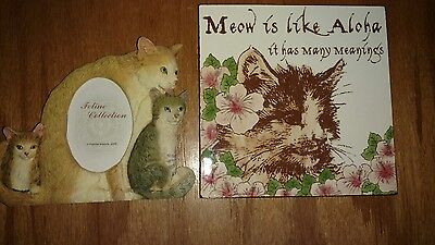 Feline Collection 3 Cats Picture Frame Handpainted Resin & Cat Ceramic Trivit