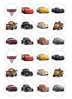24 x Cars 3 Edible Image Cupcake Toppers Pre-Cut